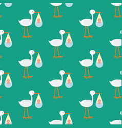 stork brought the baby seamless pattern vector image