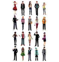 stylish young people from different ethnicity vector image