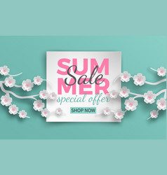 summer sale banner with paper cut cherry flowers vector image