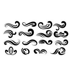 Swirly line curl patterns isolated on white vector