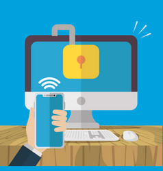 technology internet security flat design vector image