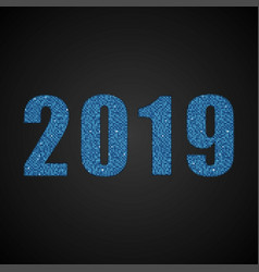 the number 2019 blue sequins new year sign vector image