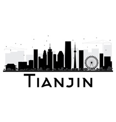 Tianjin City skyline black and white silhouette vector image