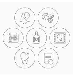Tooth extraction caries and mouthwash icons vector image