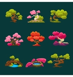 Trees In Japanese Style Set vector