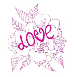 Valentines Day card with fllowers and heart vector image