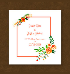 Watercolor floral anniversary frame invitation vector