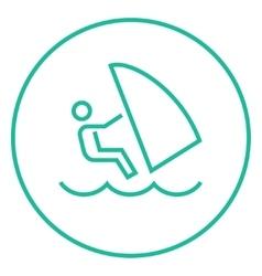 Wind surfing line icon vector