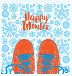 winter banner with shoes on the snowy background vector image