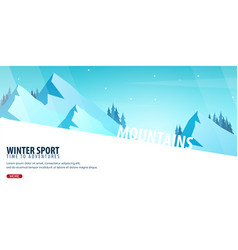 Winter sport ski and snowboard mountain vector