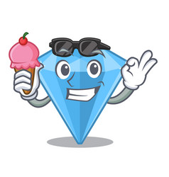 With ice cream sapphire gems in cartoon shape vector