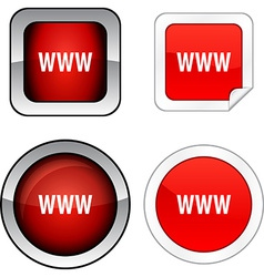 WWW button set vector