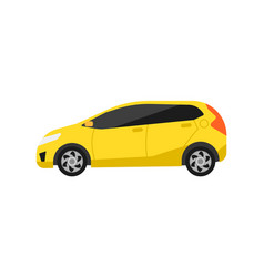 Yellow hatchback car icon in flat design vector