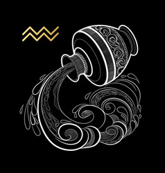 zodiac sign aquarius isolated on black background vector image
