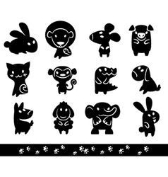 Zoo collection animals silhouette vector