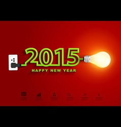 2015 happy new year concept creative light bulb vector image