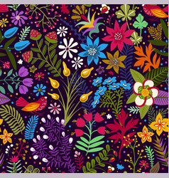seamless pattern with stylized flowers and vector image vector image