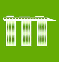 marina bay sands hotel singapore icon green vector image vector image
