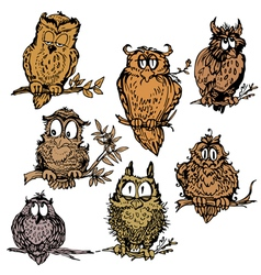 owl set 380 vector image vector image