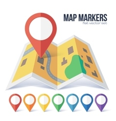 Red point marker on yellow city map in flat vector