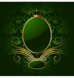 Royal green background with golden frame vector image