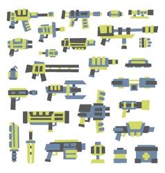 set of simple minimal flat style sci-fi guns vector image