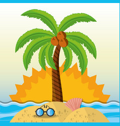 summer vacation in a beautiful sunny beach vector image vector image