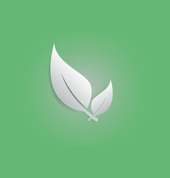 white leaves iconpaper cut art vector image vector image
