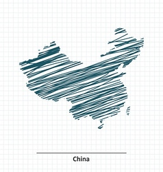 Doodle sketch of China map vector image vector image