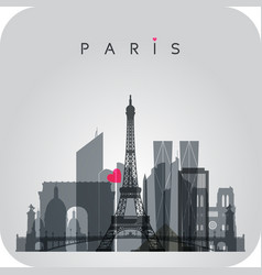 gray paris skyline card vector image