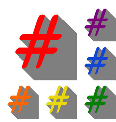 hashtag sign set of red orange vector image