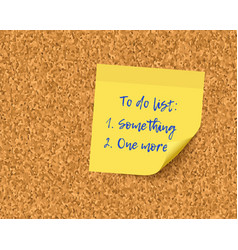 to do list on cork board background vector image