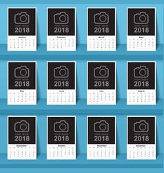 calendar 2017 template design week starts from vector image