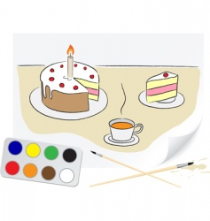 drawing cake vector image vector image