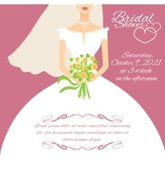 Invitation card with a young bride holding flowers vector image vector image