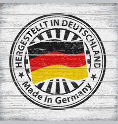 made in germany stamp on wooden background vector image