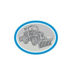Snow Plow Truck Oval Retro vector image