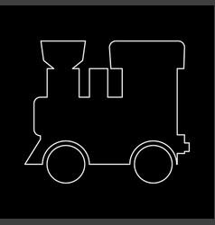 Steam locomotive - train white color path icon vector