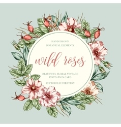 Wild roses floral frame vector image vector image
