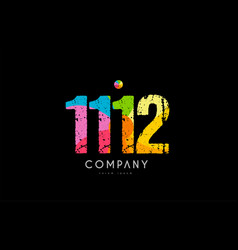 1112 number grunge color rainbow numeral digit vector image