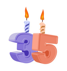35 years birthday number with festive candle for vector image