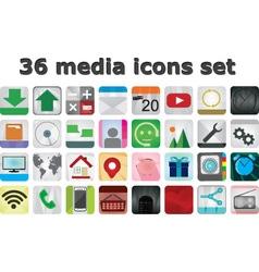 36 Media set icons vector image