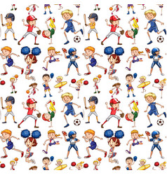 a seamless pattern of athlete vector image
