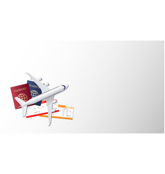 airplane passport and boarding pass on empty vector image