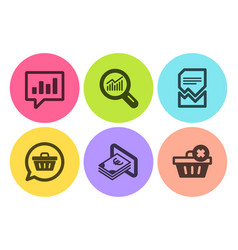 Analytical chat shopping cart and cash icons set vector