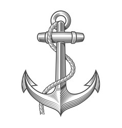 Anchor vintage woodcut style vector