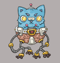 Angry cat on a mechanical robot cartoon vector
