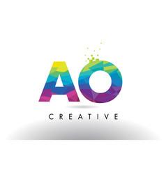 Ao a o colorful letter origami triangles design vector