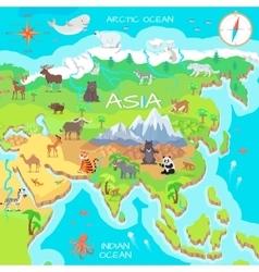 Asia Mainland Cartoon Map with Fauna Species vector