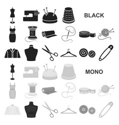 atelier and sewing black icons in set collection vector image